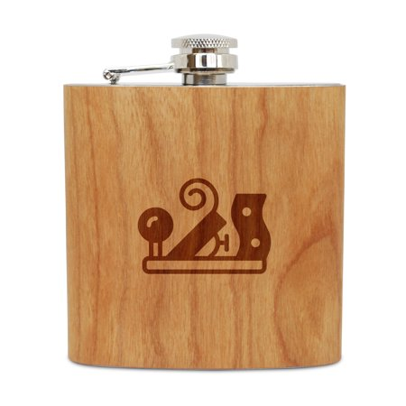 Steel Jointer - Jointer 6 Oz Wooden Flask (Cherry), Stainless Steel Body, Handmade In Usa