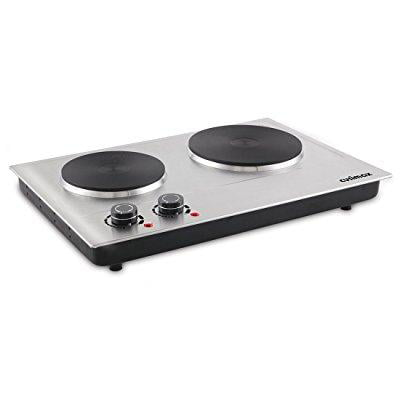 Cusimax 1800W Double Hot Plate, Stainless Countertop Burner, Silver Portable Electric Cooktop, CMHP-C180