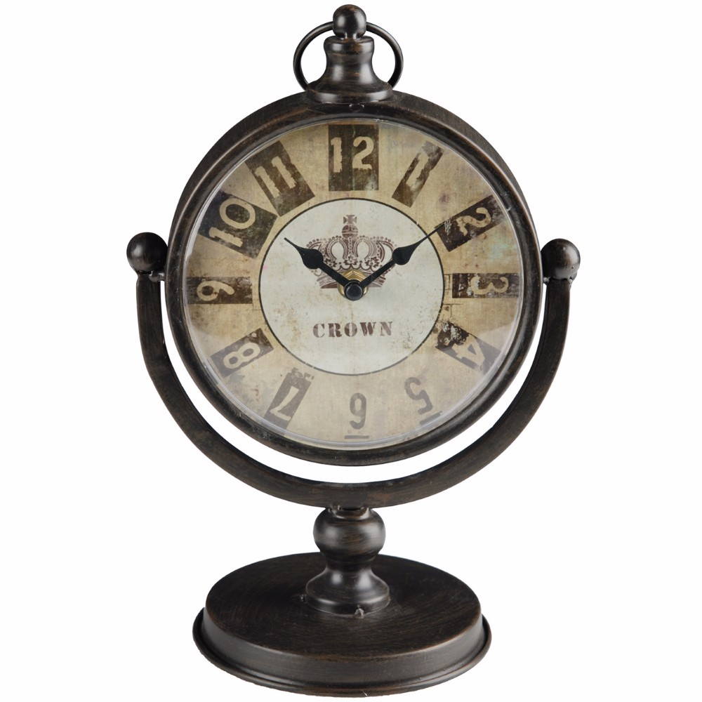 Antique Table Clock, Metallic Brown by Benzara