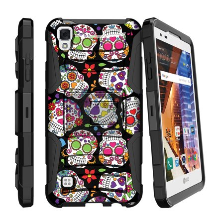 LG Volt 3 Case | LG Tribute HD Case | LG X Style Case [ Clip Armor ] Rugged Impact Case with Kickstand and Belt Clip - Sugar Skull Design