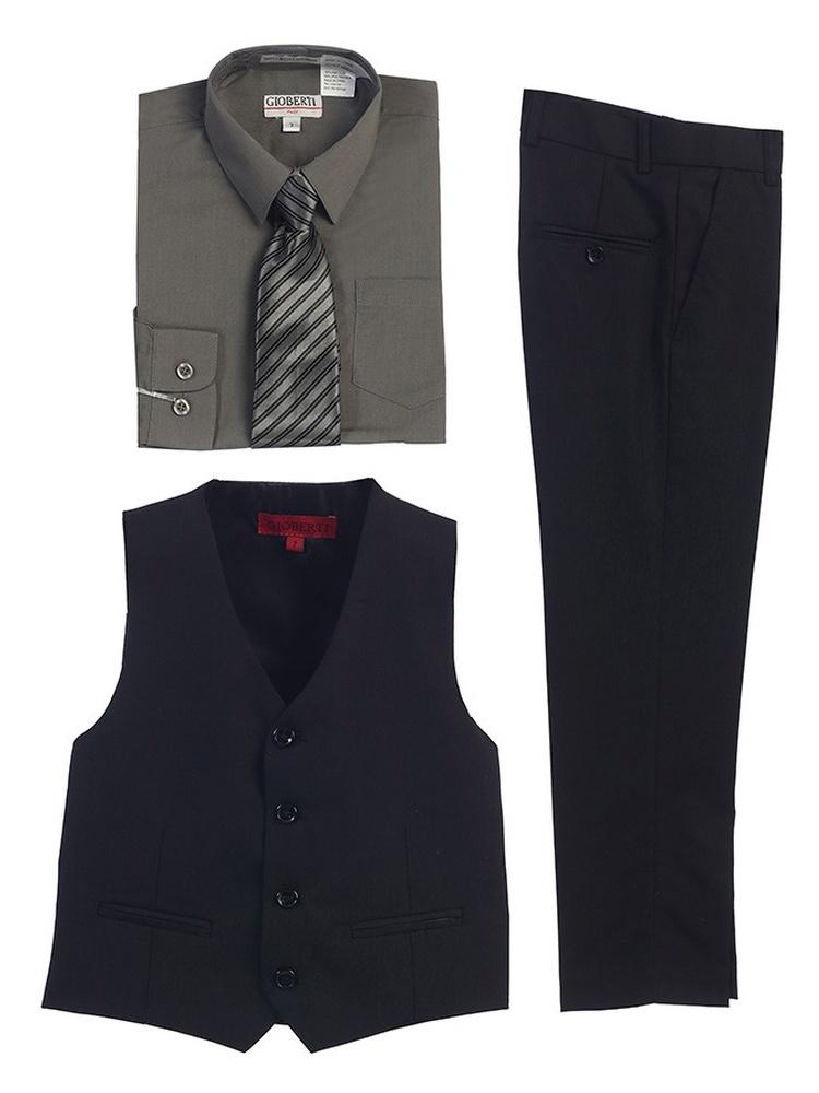 Gioberti Dark Grey Black Vest Pants Striped Tie Shirt 4 Pc Formal Set