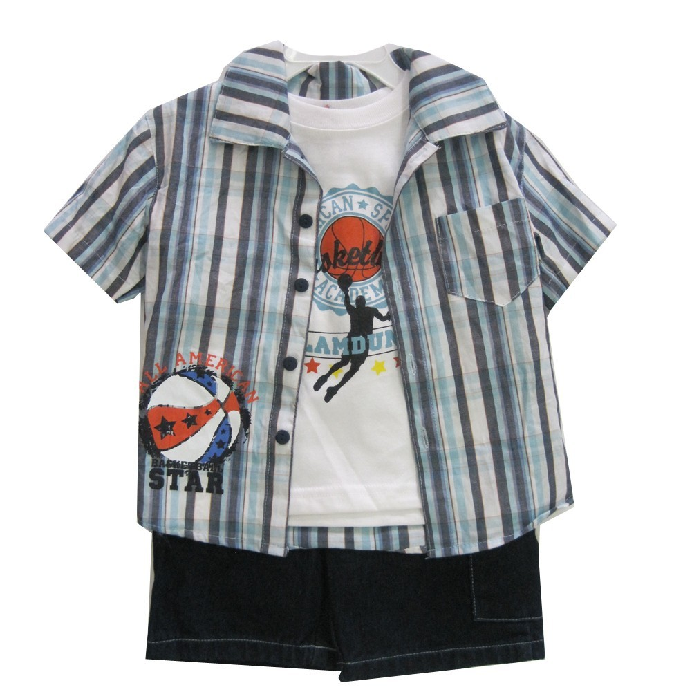 Little Boys Blue Plaid Shirt Printed Tee Denim 3 Pc Shorts Set 2T-4T
