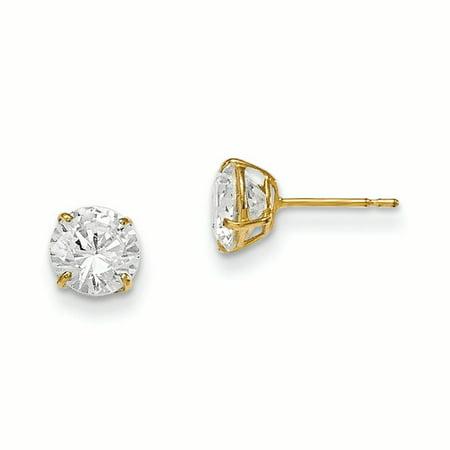 14k Yellow Gold 6mm Round Cubic Zirconia Cz Basket Set Stud Earrings Zirconia 6mm Round Earrings