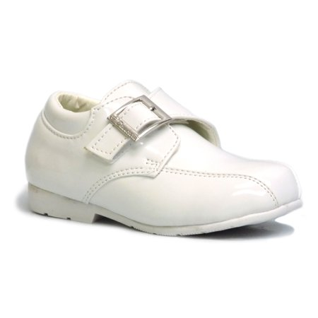 Danuccelli 1011012 Little Boys White Patent Hook and Loop Strap Bicycle Toe Communion Dress Shoes