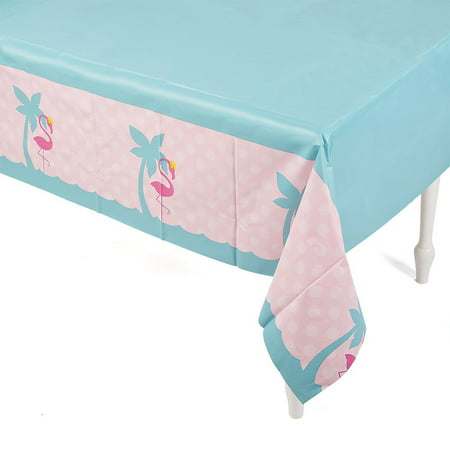 Pink Flamingo Luau Tablecover Tablecloth, Plastic By FE - Plastic Flamingos Wholesale