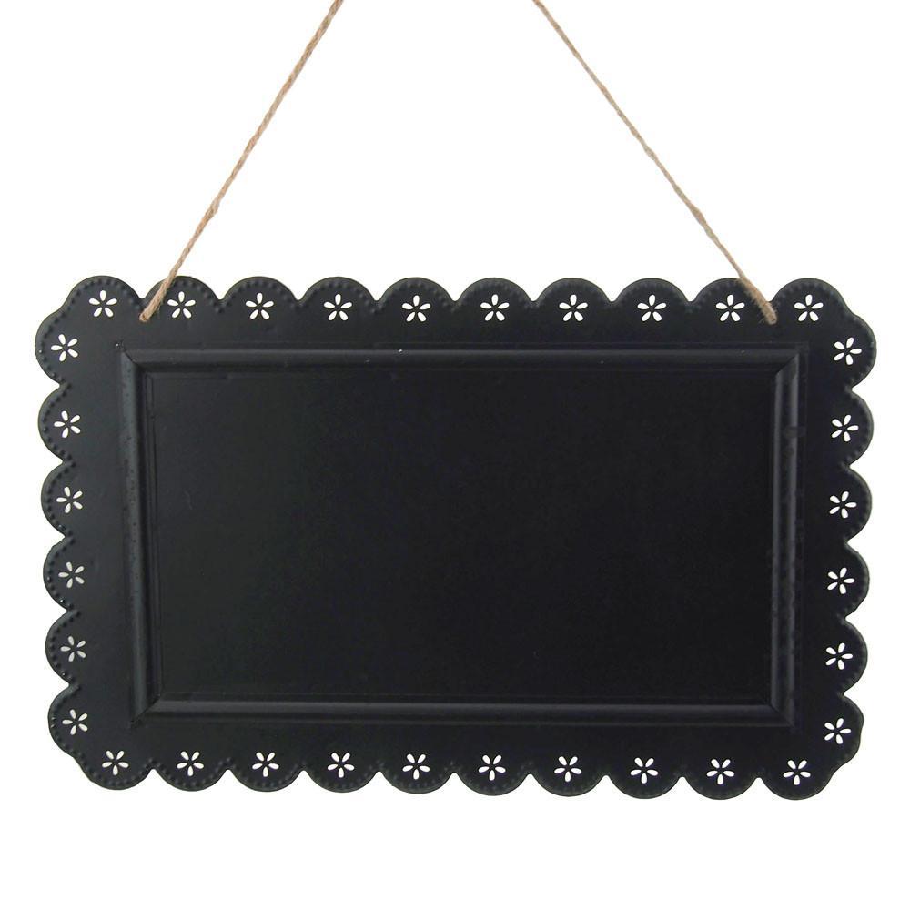 Metal Chalkboard Frame Sign withe Eyelet Edge, Black, 15-Inch