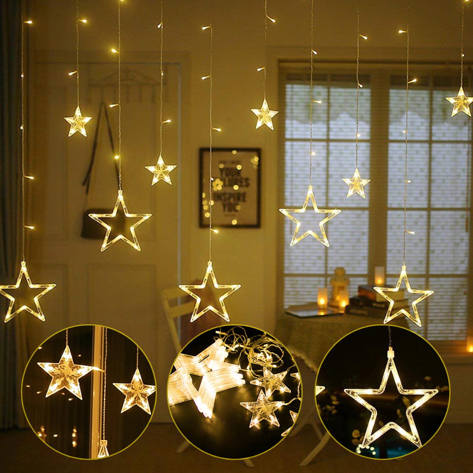 LED Star Curtain String Lights 12 Stars Window Xmas Christmas Wedding Room Décor