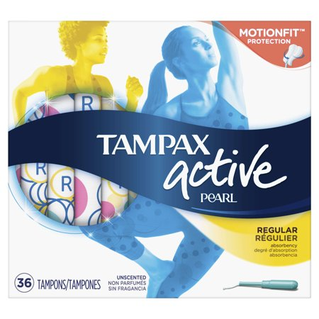TAMPAX Pearl Active Tampons Plastic Regular Absorbency Unscented, 36 Count