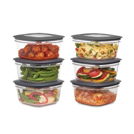 Rubbermaid Premier Food Storage Container, 5 Cup, 6-Pack, Grey 6 Cup Rectangle Storage