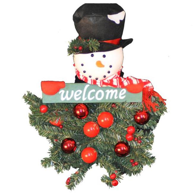 Queens of Christmas WL-BAT/SNOW-25 25 inch Battery Operated Snowman Hanging Welcome Arrangment