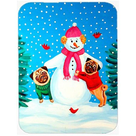 Snowman with Pug Glass Cutting Board - Large, 15 x 12 in. - image 1 de 1
