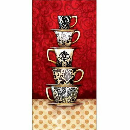 Stack of Kitchen Coffee Cup Damask Patterned Mugs Polka Dots Painting Red & Tan Canvas Art by Pied Piper Creative ()