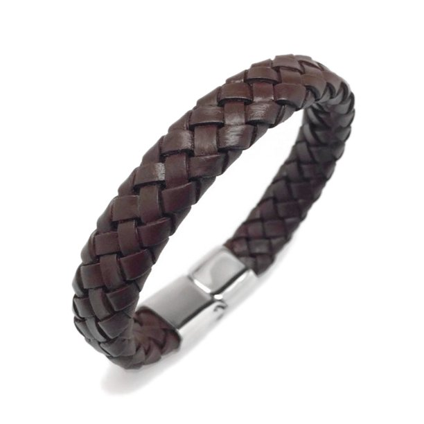 Wide Mens Dark Brown Leather Bracelet