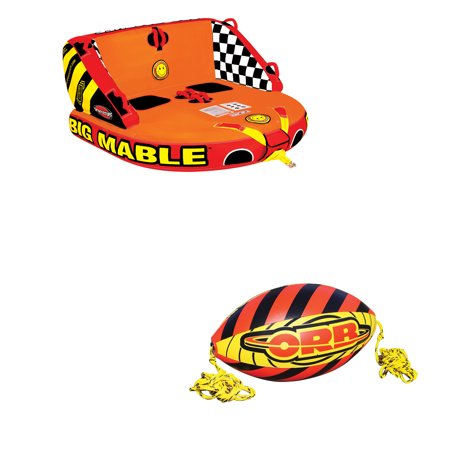 Sportsstuff Big Mable Double Rider Towable Tube & Orb 60-Foot Towable Rope Ball 60 Foot 2 Rider Tube