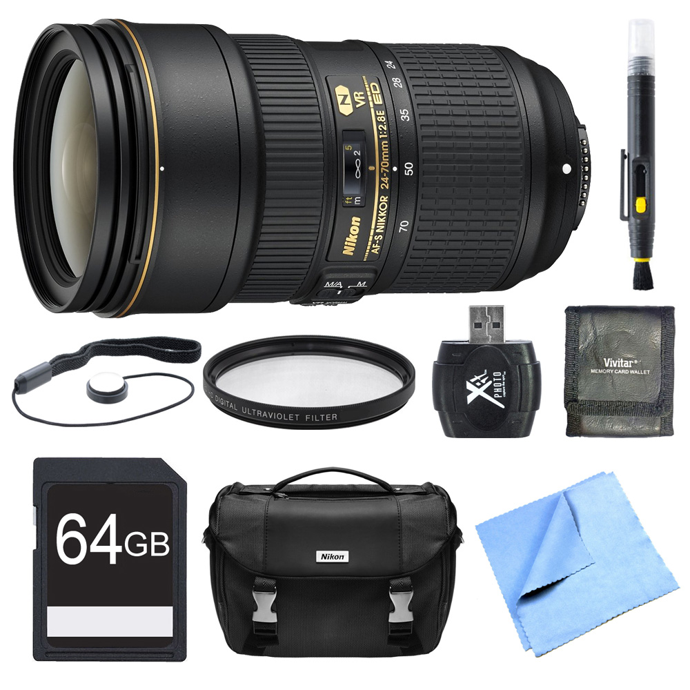Nikon 24-70mm f/2.8E ED VR AF-S NIKKOR Zoom Lens Bundle Includes Lens, 64GB SD Card, UV Filter,  Bag, Card Reader, Memory Card Wallet, Lens Cap Keeper, Lens Cleaning Pen Cloth, and Micro Fiber Cloth