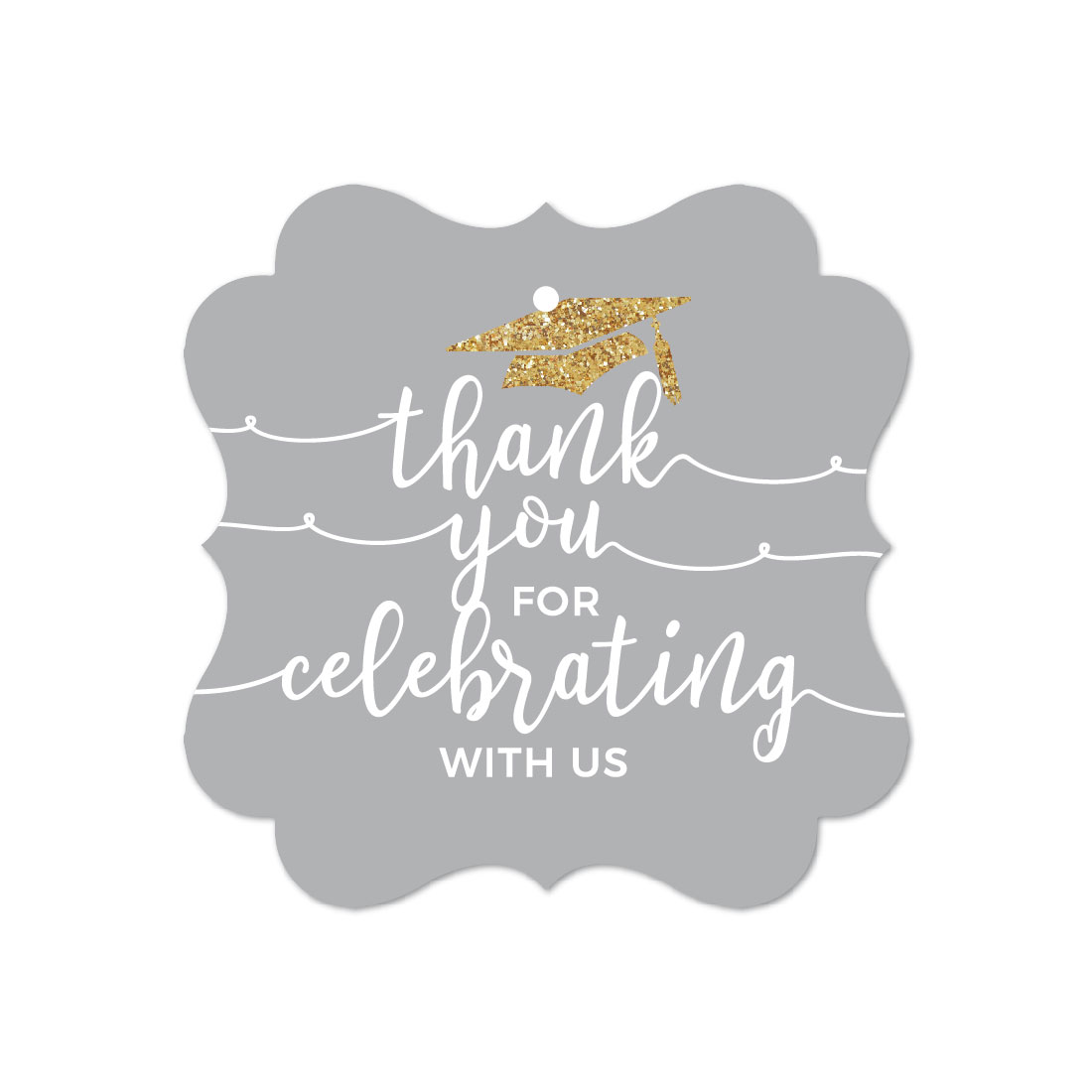 Gray and Gold Glittering Graduation, Fancy Frame Gift Tags, Thank You for Celebrating With Us, 24-Pack