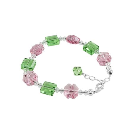 023ed261f Gem Avenue - Gem Avenue 925 Silver Multi Flower & Square Crystal Bracelet 7  to 9