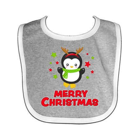 Merry Christmas Penguin in Reindeer costume Baby Bib Heather/White One Size