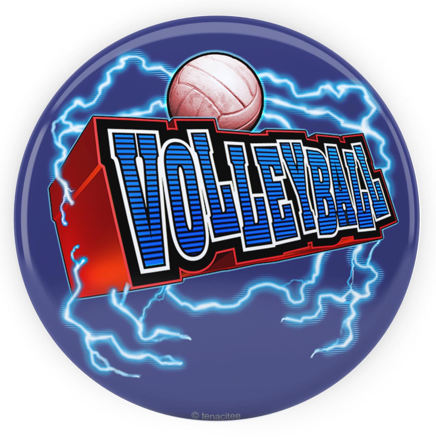 "Tenacitee Volleyball Lightning Pinback Button, 2.25"""