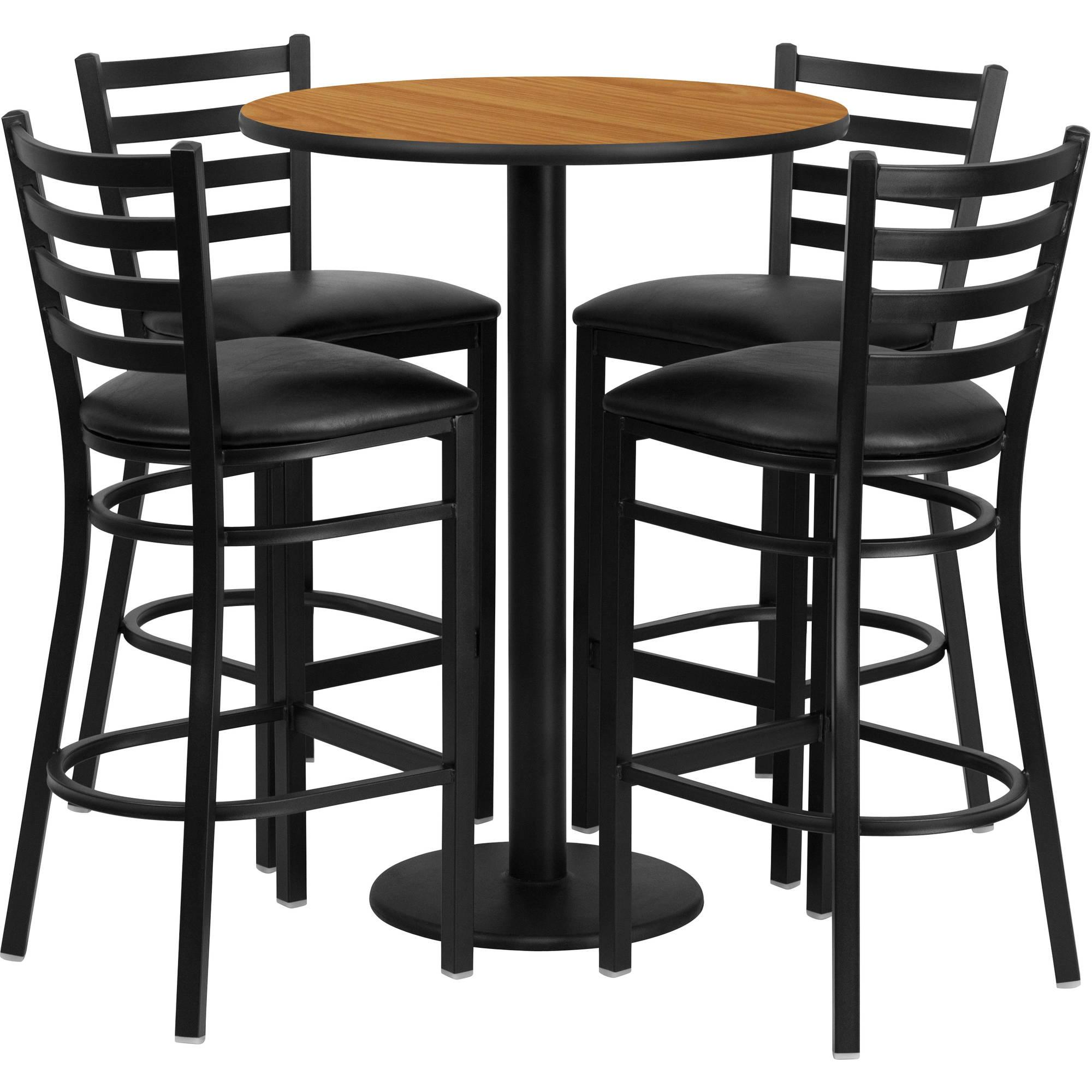 Flash Furniture 30'' Round Natural Laminate Table Set with 4 Ladder Back Metal Barstools, Black Vinyl Seat