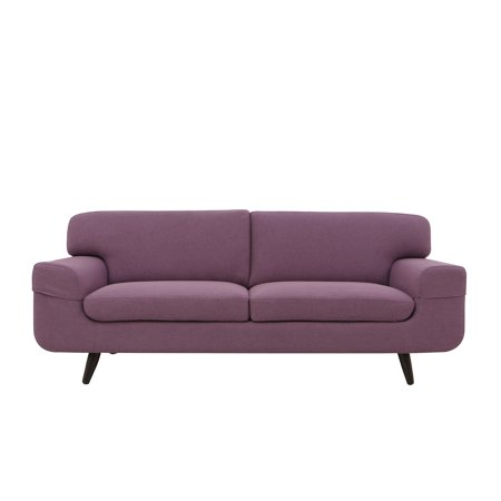 Magari Furniture MF7951PL Mid Century Modern Living Room Couch Fabric Upholstered Classic Three Person Sofa, Purple