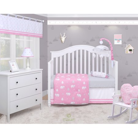 Baby Girl Crib Bedding Sets - OptimaBaby Polar Bear Animal 6 Piece Baby Nursery Crib Bedding Set
