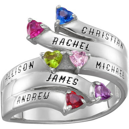 f7b06c8daf0ac Family Jewelry Personalized Mother's Sterling Silver or 18K Gold over  Silver Bypass Heart Birthstone and Name Ring