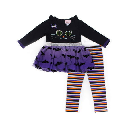 Halloween Black Cat and Spiderweb Tutu Dress & Leggings, 2-Piece Outfit Set (Baby Girls & Toddler Girls) - Tutu Outfit For Baby