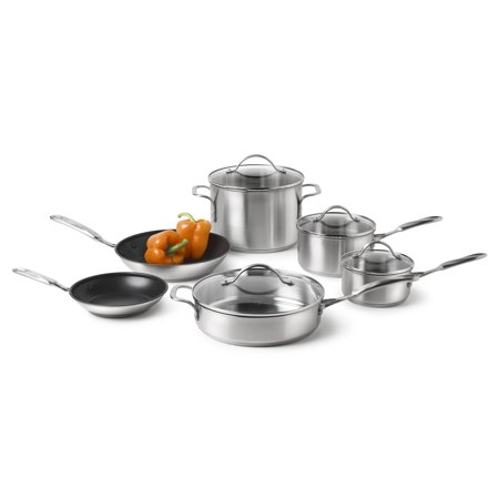 Simply Calphalon Stainless Steel 10-Piece Cookware Set, 1757697