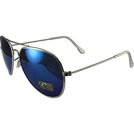 Classic Pilot Aviator Sunglasses Chrome Frames and Blue Mirrored (Low Cost Aviator Sunglasses)