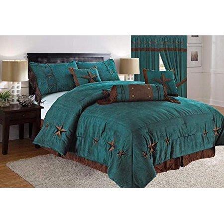 Linen Mart Queen Comforter 7 Piece Set Rustic Turquoise Brown Embroidery  Western Star Decor Luxury Microfiber 1 Skirt 2 Shams 3 Pillows