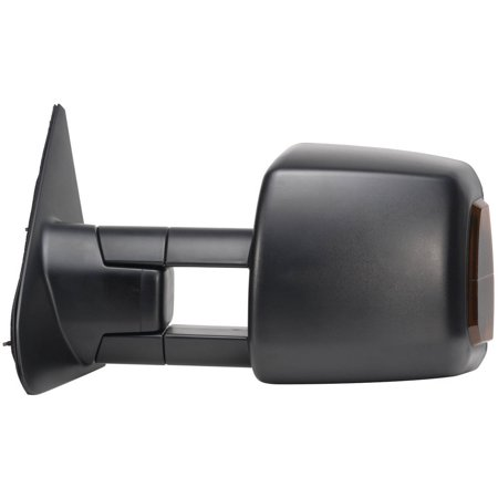 70104T - Fit System Driver Side Towing Mirror for 07-18 Toyota Tundra Pick-Up, 08-18 Sequoia, w/ turn signal & running lights, extendable, dual Mirror, textured black, foldaway, Heated (Toyota Tundra Mirror Lh Driver)