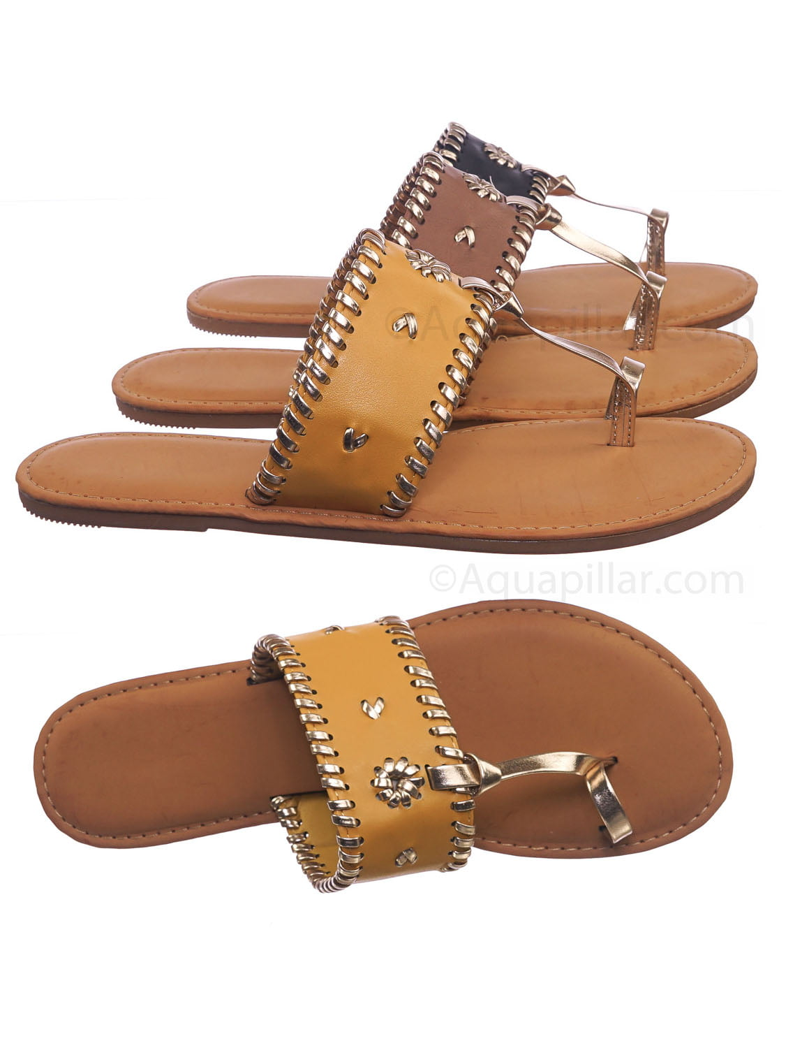 Gold Color BAMBOO Women T-Strap Slip on Triangle Flat Sandals Shoes Size 7