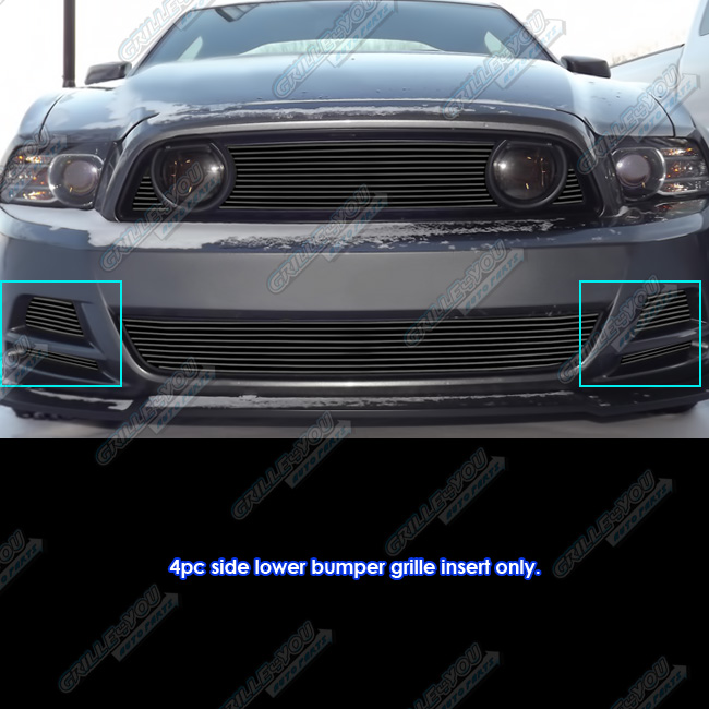 APS Fits 2013-2014 Ford Mustang GT Black Fog Light Billet Grille Insert