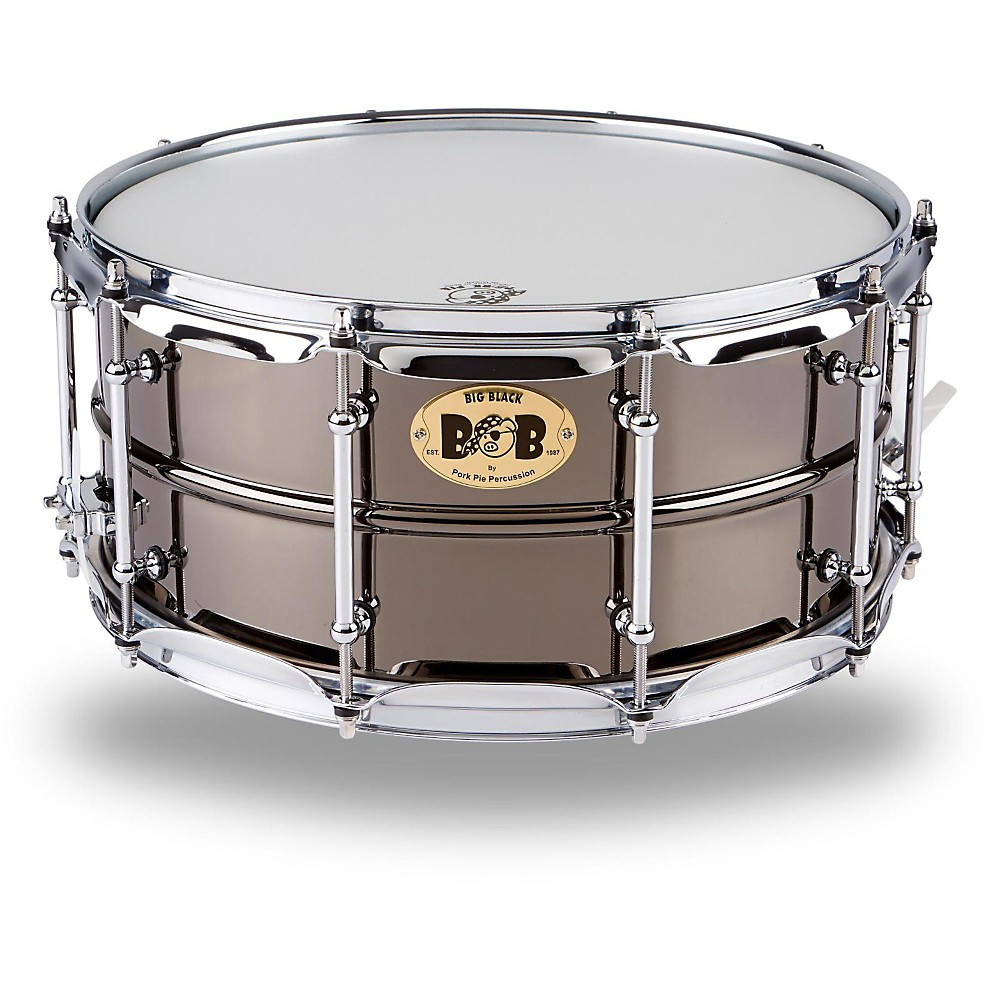 Pork Pie Big Black Brass Snare Drum with Tube Lugs and Chrome Hardware Black 14 x 6.5 in.