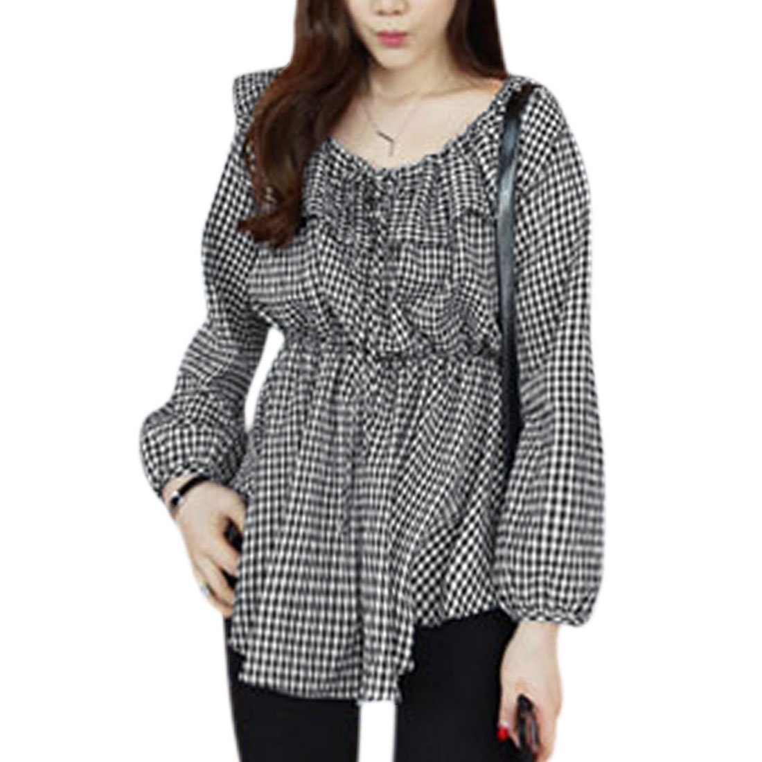 Women Ruffled Neck Elastic Waist Plaids Casual Tunic Shirt Black XS