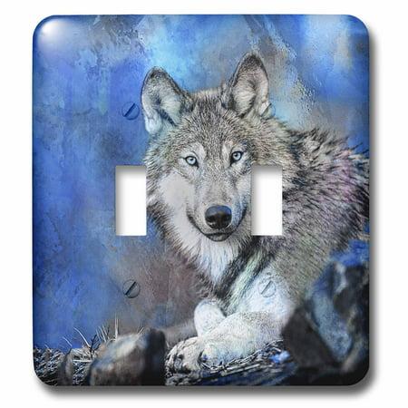 3dRose Blue Wolf Wildlife Illustration - Double Toggle Switch