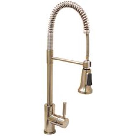 Lead Free Essen Industrial Style Kitchen Faucet With Pull Down Spout And Metal Single Lever Handle Brushed Nickel