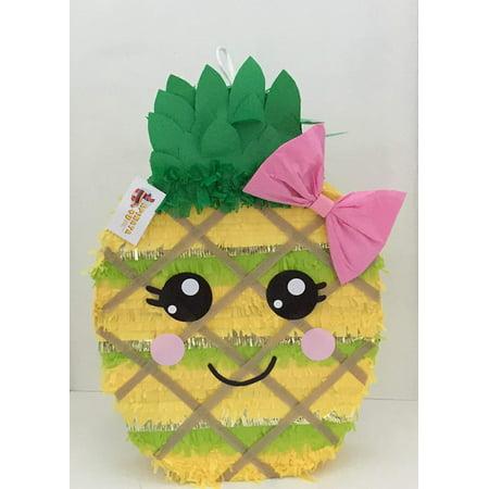 APINATA4U Pineapple Pinata with Pink Bow, Gold & Green, 18in x (Pineapple Pinata)