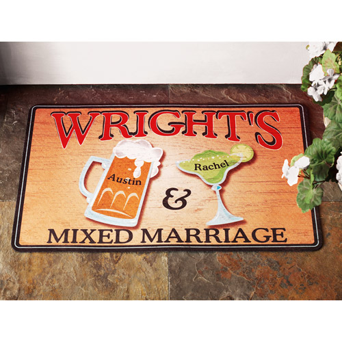 "Personalized ""Mixed Marriage"" Doormat"