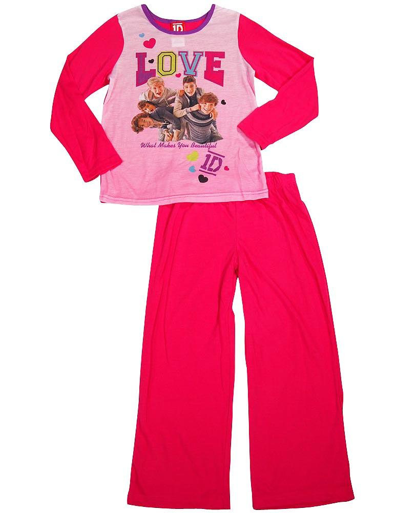 One Direction Girls Long Sleeve Long Leg Pant 2 Piece Novelty Pajama Sets, 34453 PINK / 10
