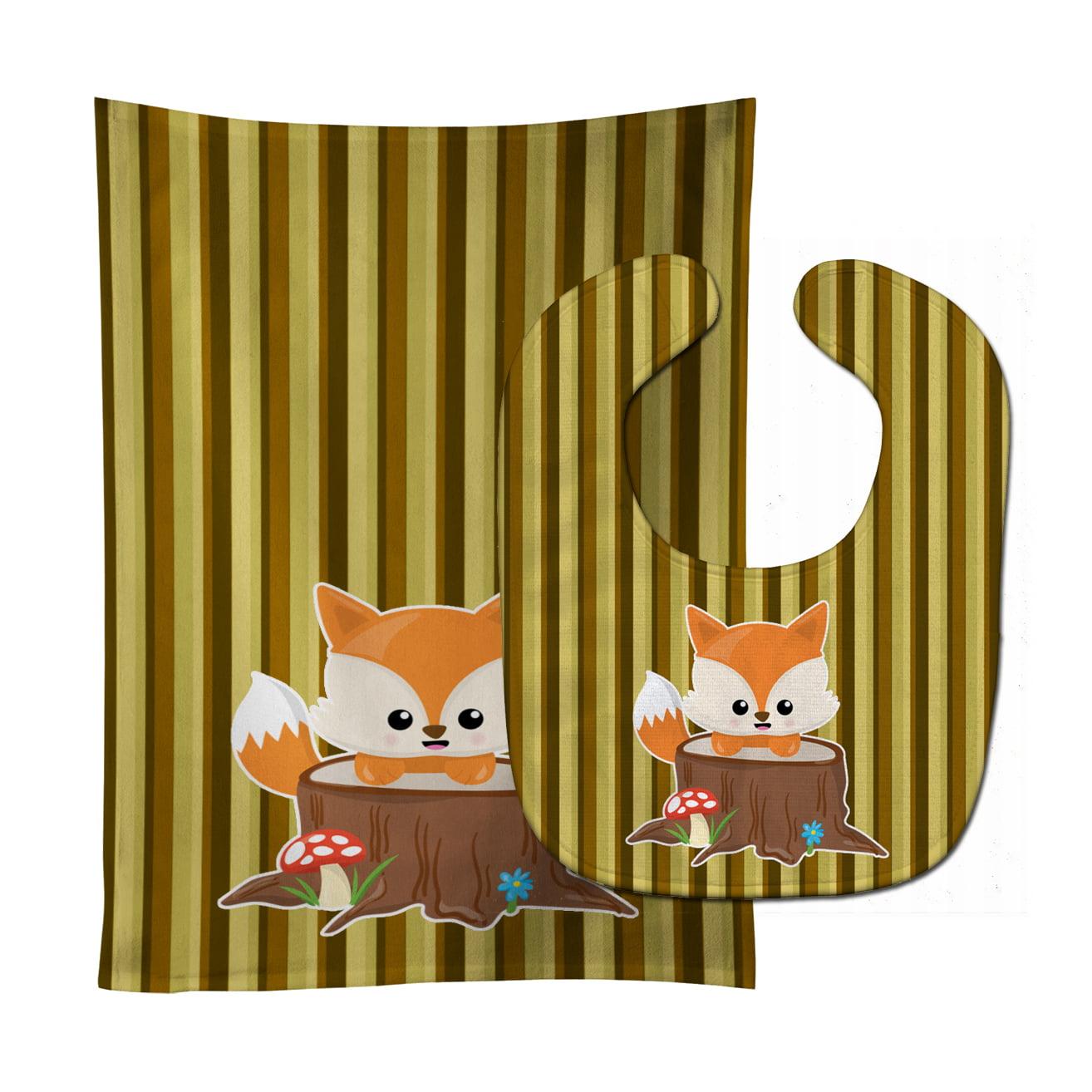 Baby Fox Tree Stripes Baby Bib & Burp Cloth BB7088STBU