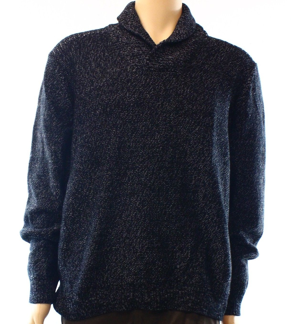INC NEW Deep Black Mens Size Large L Ribbed Shawl Collar Polo Sweater