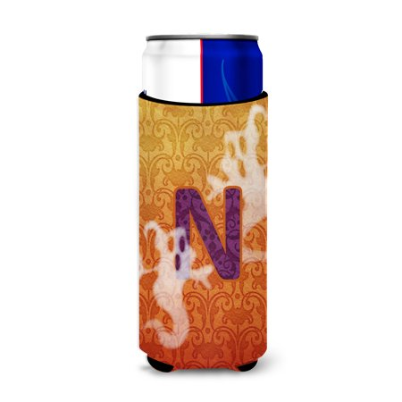 Halloween Ghosts Monogram Initial  Letter N Ultra Beverage Insulators for slim cans CJ1040-NMUK - Letter N Halloween