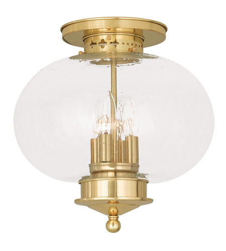 Semi Flush Mounts 4 Light With Hand Blown Seeded Glass Polished Brass size 13 in 240 Watts - World of Crystal