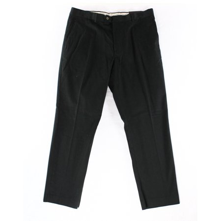 Tasso Elba NEW Black Mens Size 33X30 Solid Flat Front Chinos Pants