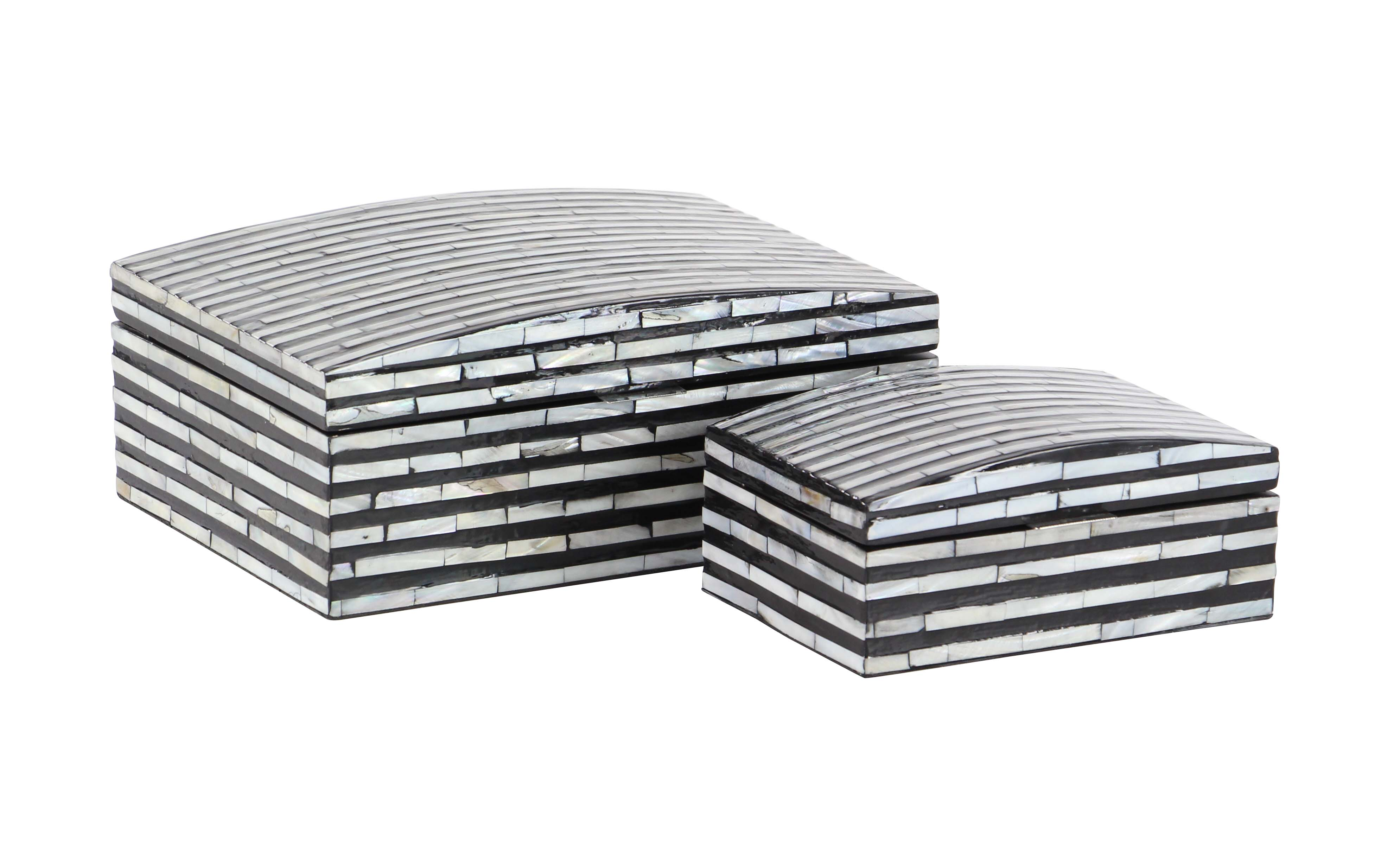Decmode Natural Wood And Shell Rectangular Black And White Striped