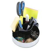 Kantek Rotating Desktop Organizer, 6 x 6 x 4.5H inches, Black/Silver, Round