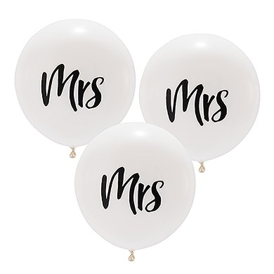 "17"" Large White Round Wedding Balloons - ""Mrs"""