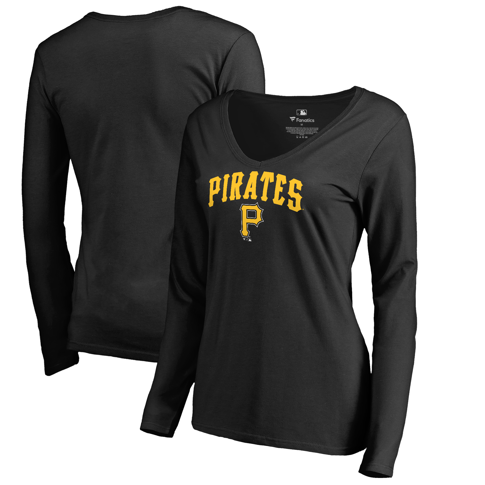 Pittsburgh Pirates Fanatics Branded Women's Cooperstown Collection Wahconah Long Sleeve V-Neck T-Shirt - Black